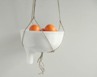 Juicer Attachment , Repurposed Hanging Fruit Basket , Juice Adapter Hanger , Retro Kitchen , Vintage White Milk Glass Bowl