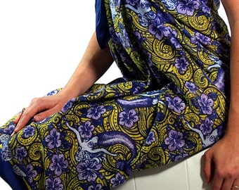 Sarong: Dreamy Mermaid-Mustard.  Fine quality 100% cotton voile sarong.  2.1 meters long. Designed by me and printed in India.