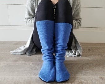 """Warm Wool Sweater Socks // Size 8-11 shoe, 17"""" Tall // Cabin Socks // Washable Felted Wool // Thick felted wool sole // Bright Blue"""