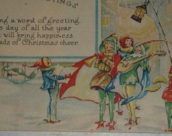Minstrels With Christmas Greeting Art Deco Vintage Postcard