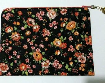 Flower Zipper Pouch / Zipper Purse / Zipper Pouch / Floral  Print / Phone Pouch / Medicine Bag / First Aid Bag / Designer Pouch