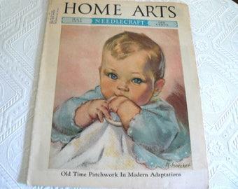 1936 Home Arts Magazine, 1930's Fashion and Needlecraft, Beautiful Cover Art
