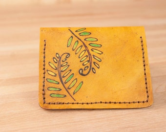 Front Pocket Wallet - Leather Minimalist Wallet in the Fern pattern in green and antique tan - Handmade Leather Wallet for men or women