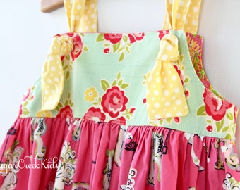 SALE CAROUSEL Knot Dress.  Girls Boho Horse Dress 12-18mo size available