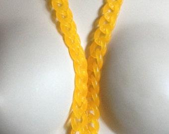 Necklace - long funky orange plastic chain necklace