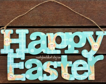 wooden Easter decoration, Happy Easter sign, hand painted, wood Easter decoration, Easter bunny rabbit, Spring home decor, gift mom gift