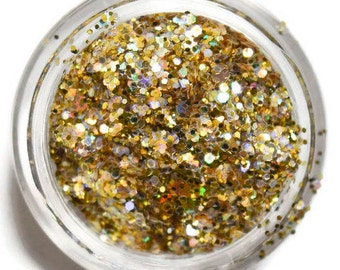 Holo Gold Sparkle Mix, SOLVENT RESISTANT, Glitter Mix, Holographic Glitter, Gold, Raw Glitter Mix, Nail Polish, Nail Art, Gold Glitter Mix