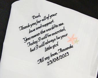 Father of the Bride Handkerchief, You Mean The World To me Wedding Day Keepsake - Thread Born Memories