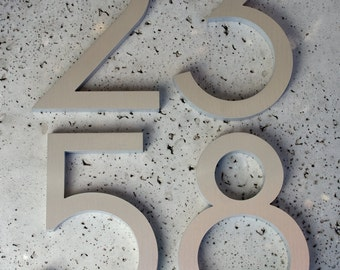 """Modern House Numbers Modern Font Recycled Aluminum Set of 4 numbers 6"""" tall"""