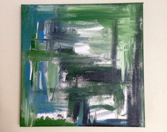 25x25 cm Acrylic on Canvas 'Spur' Abstract Painting Green Blue Black White Cool Ocean Tones Colours Square