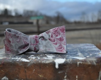 Self Tie Bow Tie Garnet  Fashion Statement for Hand Marbled South Carolina or Ohio State-MM-#16-8