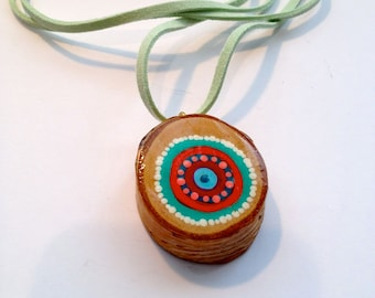Colorful Necklace with Hand Painted Wood Slice