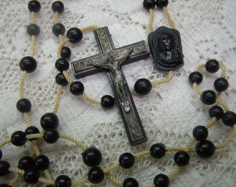 Vintage Black Plastic Crucifix...Signed Italy...Madonna and Sacred Heart Medal...59 Beads...Cotton Strung...Unique Crucifix