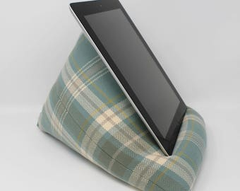 Tablet Cushion, Tablet Pillow, iPad Stand, Plaid Tablet Stand, Tech Gift, Tartan iPad Stand, Blue Tech Stand, Teenager Gifts, Tweenager Gift