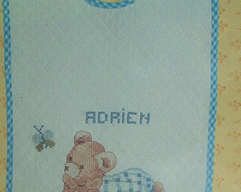 """Kit """"Pooh"""" bib in blue embroidery cross stitch printed white cotton pique"""