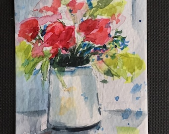 Flowers ORIGINAL Miniature Watercolour Summer flowers Vase floral art ACEO Watercolor For him For her Home Decor Wall Art Gift Idea