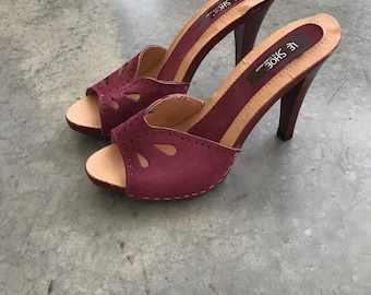 Vintage Le Shoe by Colormate Sandals Pumps Open Toe Heels R SZ 7 MODERN SZ 5 - Colormate Heels - Red Heels - Burgundy Heels