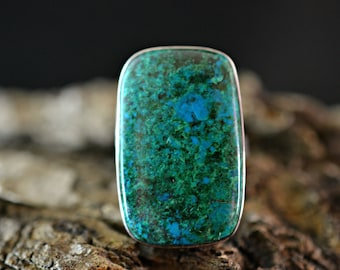 Natural Chrysocolla Ring, Chrysocolla Ring, Chrysocolla Silver Ring, Silver Ring, 925 Silver Ring