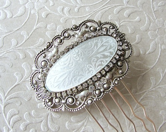 White Wedding Hair Comb Rhinestone Hairpiece Vintage Guilloche Enamel Headpiece Victorian Style Bridal Ballroom Pageant Jewelry Accessory