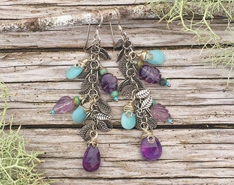 Amethyst Garden Earrings with Sterling Silver and Semiprecious Stone Briolettes, Gemstone Dangles with Silvery Leaves in Pale Blue & Purple