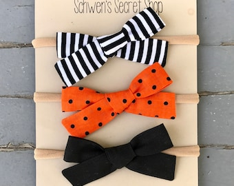 Halloween baby bow, hand tied bow, baby girl headband, baby girl bow, nylon headband, school girl bow, baby bow headband, baby hair bow