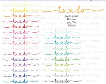 To-Do Script Icon with Heart Digital Clipart in Rainbow Colors - Instant download PNG files