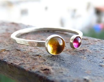 Citrine and Garnet Ring - Citrine Stacking Silver Ring - Sterling Silver Ring - Red Gemstone Ring