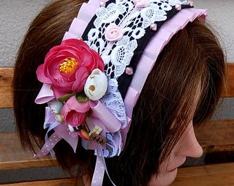 Sweet candy pink lolita headdress - classic gothic headband bonnet fascinator