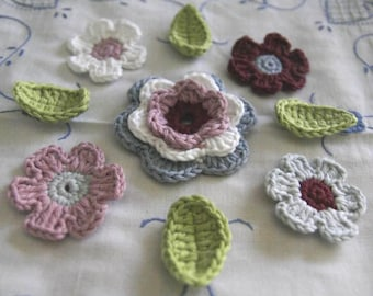 Organic Cotton Crochet 5 Flower Set with 4 Leaves in Ocean, White, Garnet, Lime, Glacier and Wild Rose colors