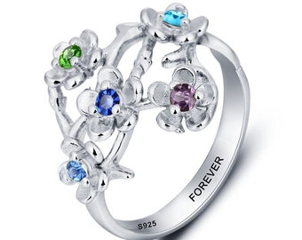 Personalized Engraved 5 Birthstone Family Tree Mother's Ring