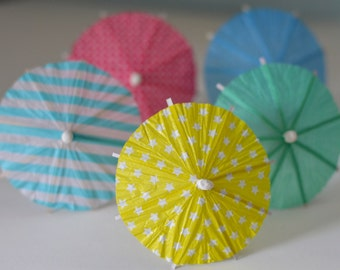 Party favor Summer umbrella Cup Cake Toppers (10 pcs) rainbow mix, easter decoration