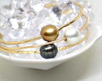 Baroque* Tahitian Pearl Bangles,  Black Pearl Bangles, 14k Gold fill, Sterling Silver