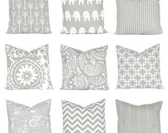 Gray Pillow Cover - One 20 x 20 - Cushion Covers - Gray and White Bedroom Decor - Choose From 9 Prints - Sofa Pillow Covers
