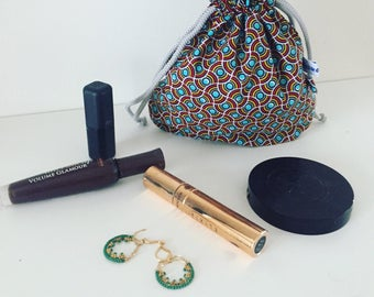 Bag pouch, clutch in African fabric