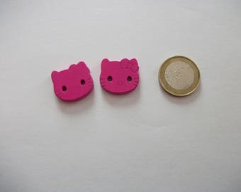 2 large buttons - 20 mm - cat decor - over sweater, baby, or other...  2 fuchsia-