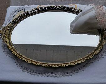 Beautiful Ornate Vanity Mirror; Large Dressing Table Mirror, Vintage Vanity Mirror, Gold Tone Filigree Dresser Mirror