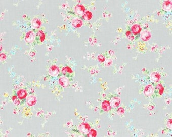 Flower Sugar Spring 2015 Pink Roses Cotton Fabric  by Lecien 31130-90 Gray