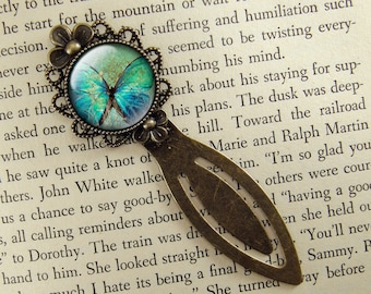 Butterfly Bookmark, Blue Butterfly, Vintage Style, Bronze Bookmark, Book Lover, Book Accessories, Clip Bookmark, Bookmark with Clip
