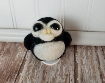 Adorable Needle Felted Wool Toothy Monster- Black and White