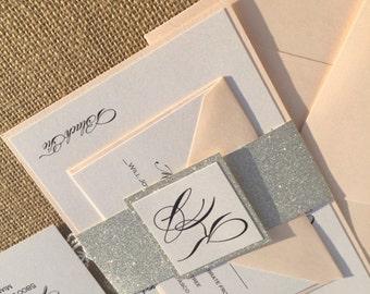 Blush and silver wedding invitations, Glitter invitation, Blush wedding invitation, Silver Glitter Invitation, Wedding Invitation,