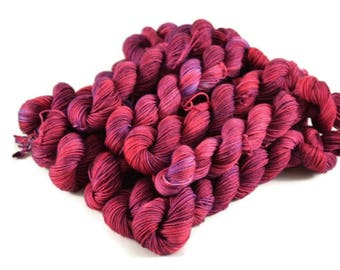 Mini Skeins, Hand Dyed Yarn, Sock Weight, Superwash Merino Wool Yarn, Knitting Yarn, Sock Yarn, Multi-colored, pink, purple - Anemone