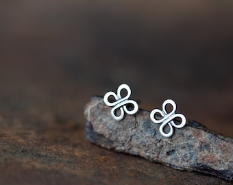 Small Silver Earrings, tiny celtic knot earrings, silver metalwork, four leaf clover, everyday silver earrings for man, woman