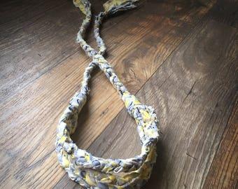 Tattered Dreadlock Headband/ 4 Rows/ Purple/ periwinkle/ lavendar/ yellow