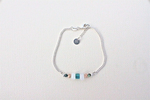 chain bracelet  and semiprecious stones: rainbow moonstone, turquoise and swarovski crystals