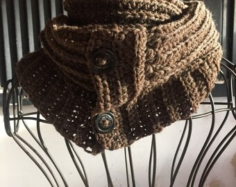 Bulky Cowl Brown Wool Infinity Buttons Texture Accessory Fall