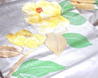 Japanese silk kimono obi belt/nagoya obi/obi sash/embroidery kimono sash/silver floral obi/kimono belt/kimono fabric/home decor