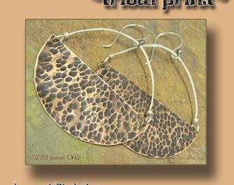 Tribal Print, Copper and Silver Hoop earrings, ThePurpleLilyDesigns