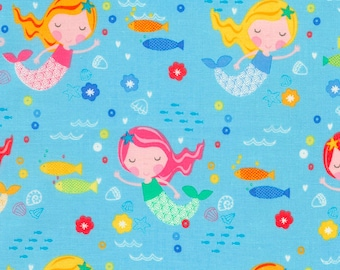 Mermaid Fabric - 1 yard cut - Timeless Treasures - Cotton Fabric - Quilting Fabric