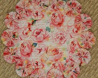 """Romantic Pink Roses and Script 12"""" Yo Yo Doily"""