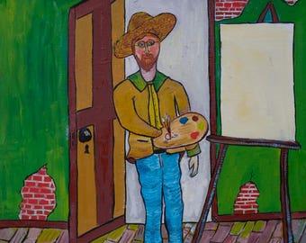 Self Portrait of Boyd (original) | Folk Art